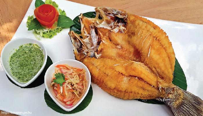 อาหารไทย ปลากะพงทอดน้ำปลา